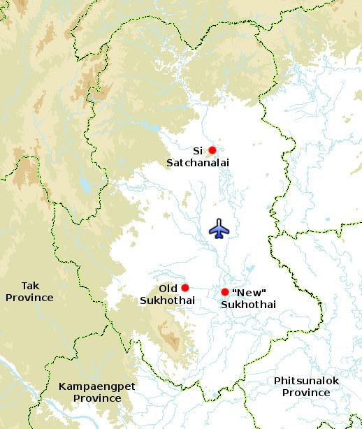 Sukhothai sijaitsee aika suoraan Bangkokista pohjoiseen. Ylläoleva kartta kertoo missä siellä mitäkin on.