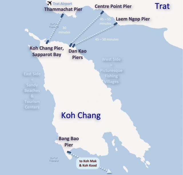 Tässä kuvassa nykyiset laivareitit Koh Changin ja mannermaan välillä. Näiden jatkoksi halutaan nyt silta.